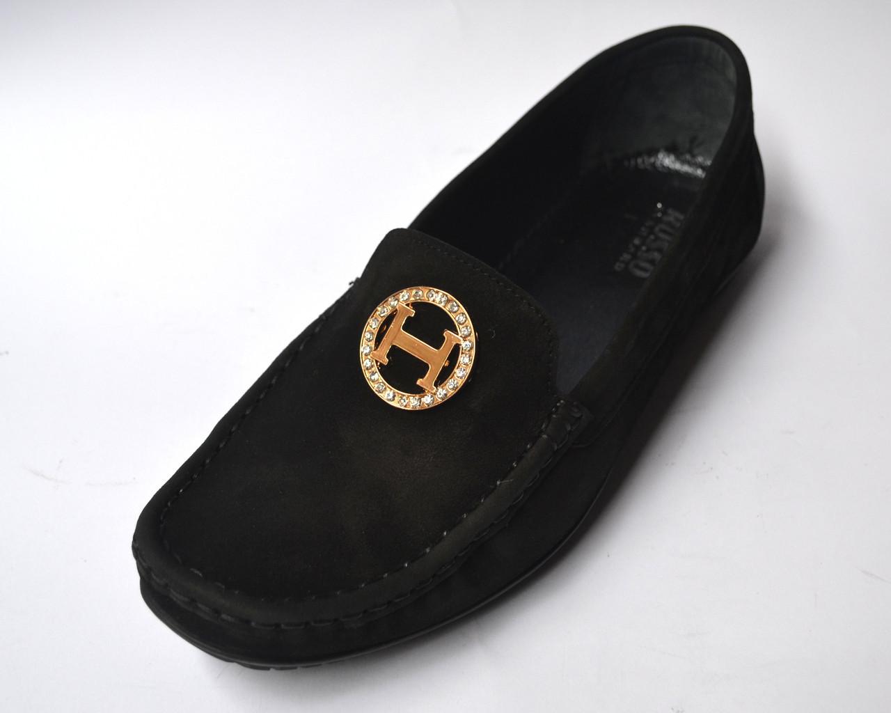"""Мокасины нубук женская обувь больших размеров Ornella BS Black Vel by Rosso Avangard цвет черный """"Грейс"""""""