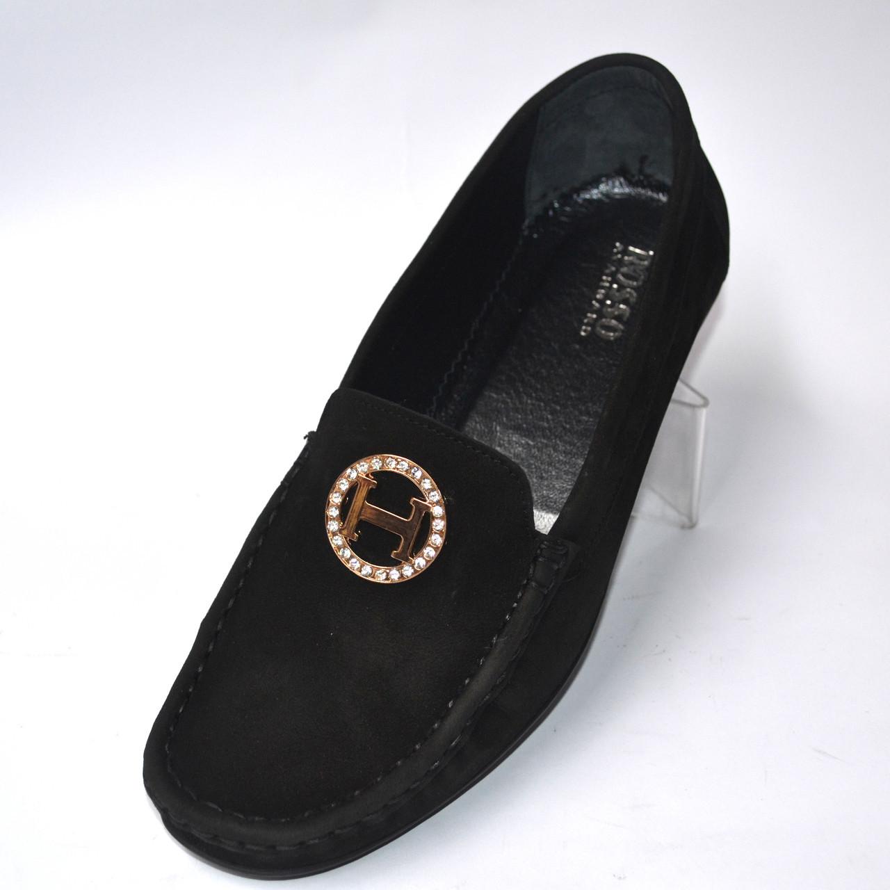 """Мокасини черніе нубук жіноче взуття великих розмірів Ornella BS Black Vel by Rosso Avangard колір """"Грейс"""""""