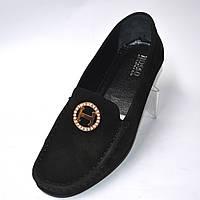 """Мокасини черніе нубук жіноче взуття великих розмірів Ornella BS Black Vel by Rosso Avangard колір """"Грейс"""", фото 1"""