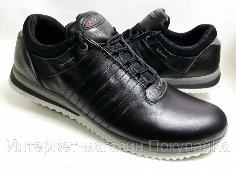 Мужские Кожаные кроссовки Ecco (model - №101) чёрные Польша 2019 ... b0163110fb36f