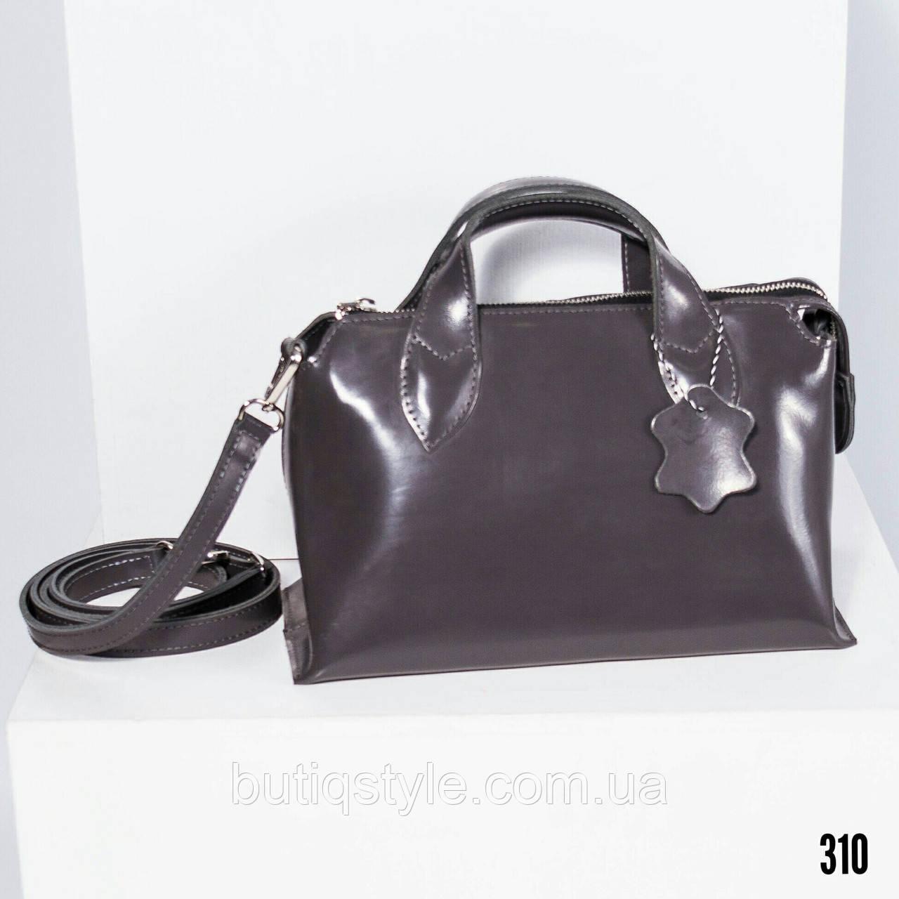 Модная женская серая сумка натуральная лаковая кожа