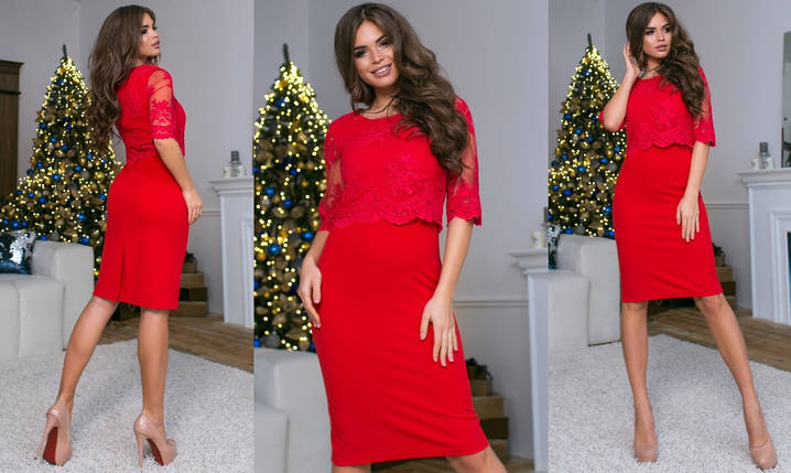 """Нарядное комбинированное платье-футляр """"Инесса"""" с вышивкой (5 цветов), фото 2"""