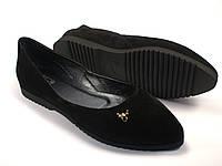 Балетки женские большого размера замшевые Scarab V Gold Black Vel by Rosso Avangard BS цвет черный, фото 1