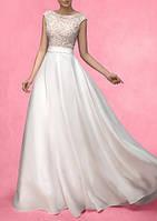 cca3f78474a Модное длинное свадебное платье красивого А-силуэта с кружевом и открытой  спиной СВ-9177
