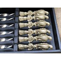 """Набір шампурів ручної роботи """"Птахи"""", рукоять бронза (3х10мм, 60см), 6 шт. в шкіряному кейсі"""