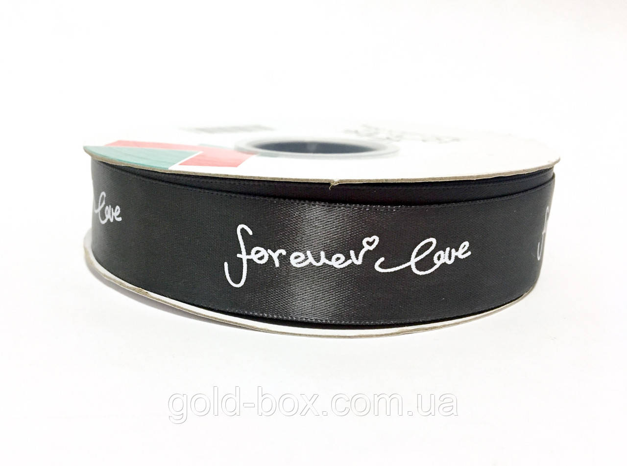 Ленты для букетов «Forever Love»2,5см/45-46м цвет тёмно-серый