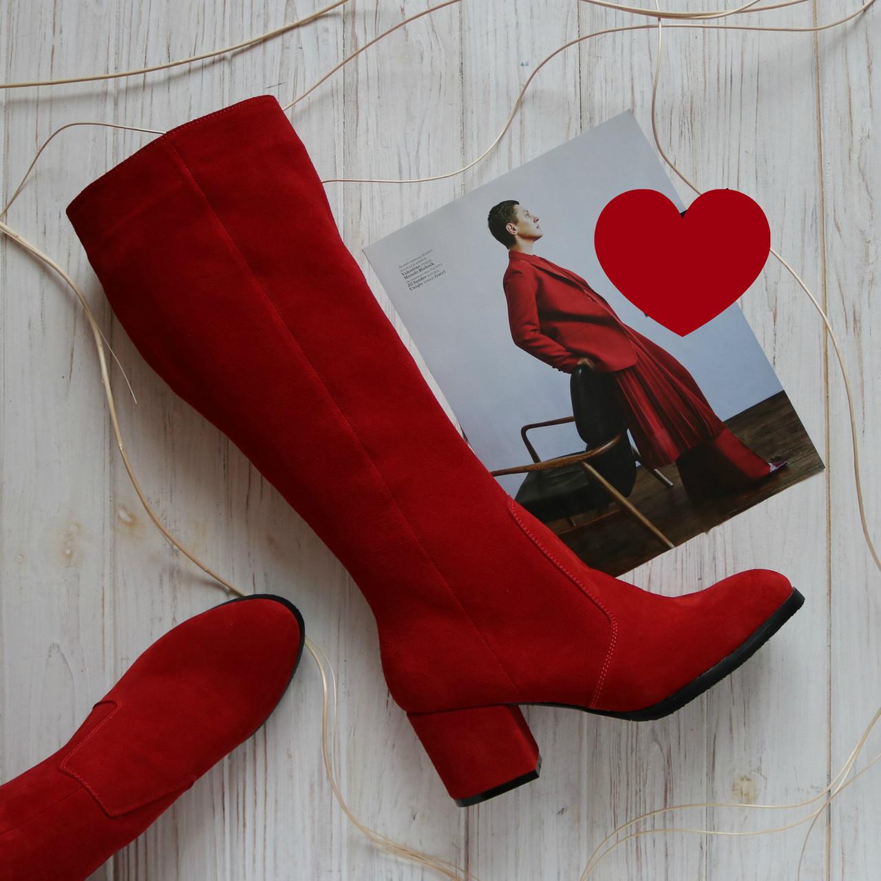 Жіночі замшеві чоботи червоного кольору Можливий відшиваючи у інших кольорах замші та шкіри