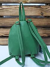 Маленький рюкзак с паетками из искусственной кожи светло зеленого цвета с совушкой, фото 2