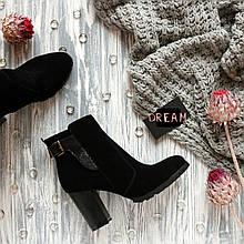 Женские замшевые ботинки на устойчивом каблуке Возможен отшив в других цветах