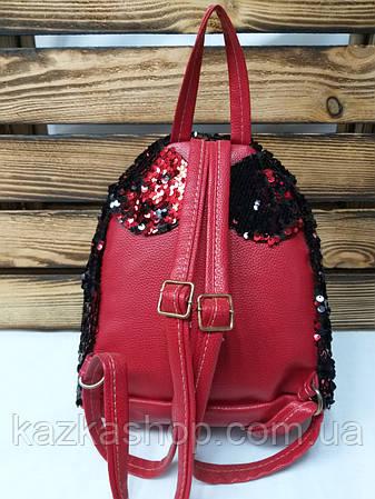 Маленький рюкзак с красными паетками и небольшими ушками, фото 2