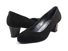Туфли классические замшевые лодочка большой размер женская обувь Puro Black Vel BS by Rosso Avangard