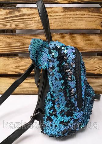 Маленький рюкзак с синими паетками и небольшими ушками, фото 2