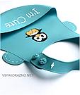 Детский слюнявчик нагрудник силиконовый с карманом I am cute (голубой), фото 3