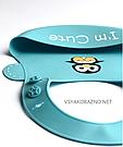 Детский слюнявчик нагрудник силиконовый с карманом I am cute (голубой), фото 4
