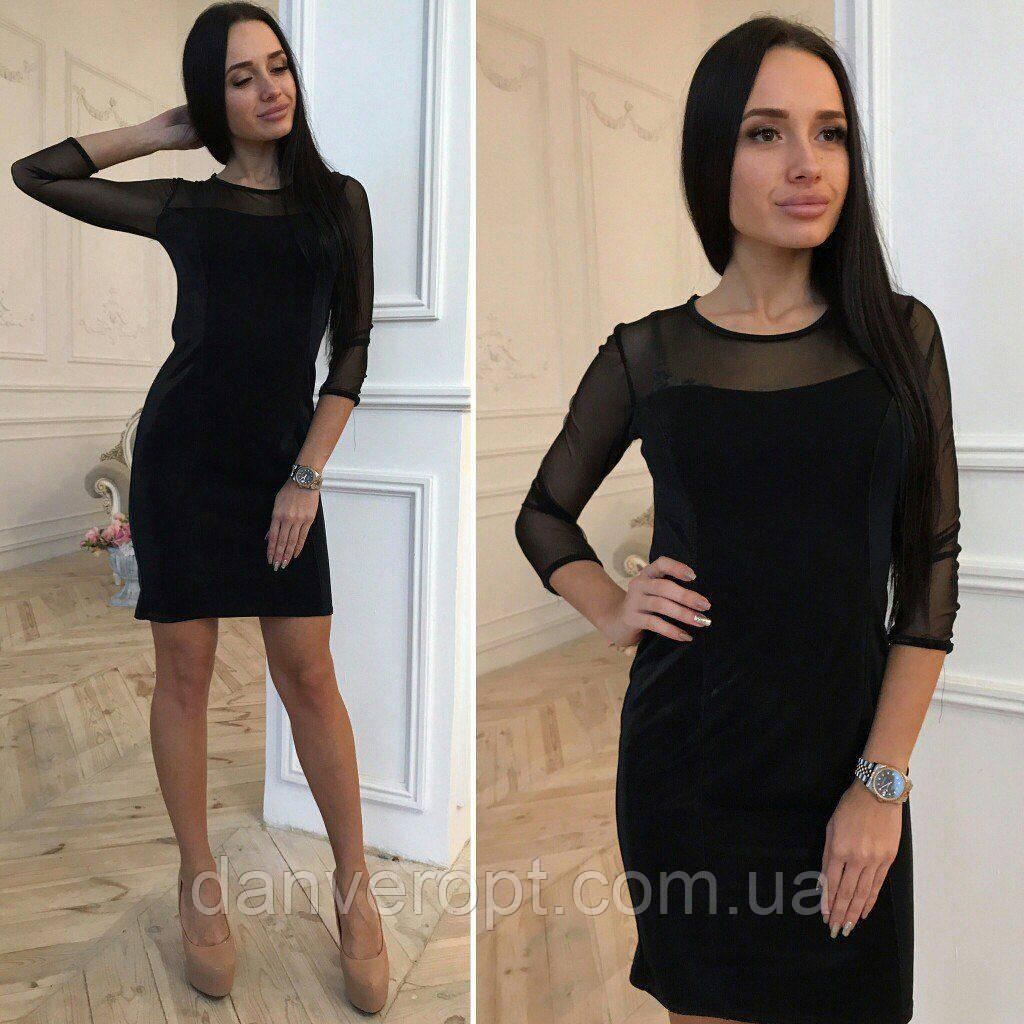 Платье женское модное стильное велюровое размер 44-46, купить оптом со склада 7км Одесса