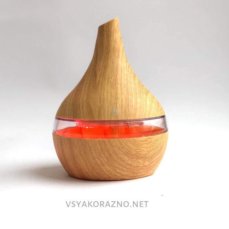 Мини увлажнитель воздуха, ароматизатор и освежитель воздуха с подсветкой Капля (светлое дерево)