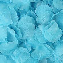 Набор голубых лепестков роз - в наборе около 100шт., размер лепестка 5*4,5см, текстиль