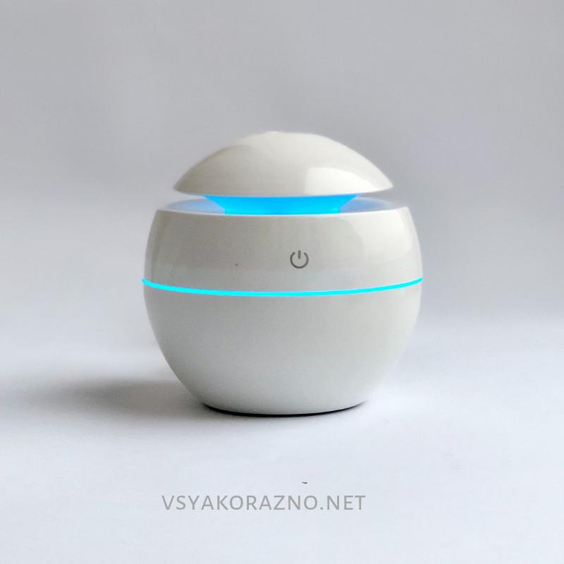 Мини увлажнитель воздуха, ароматизатор и освежитель воздуха с подсветкой (белый)