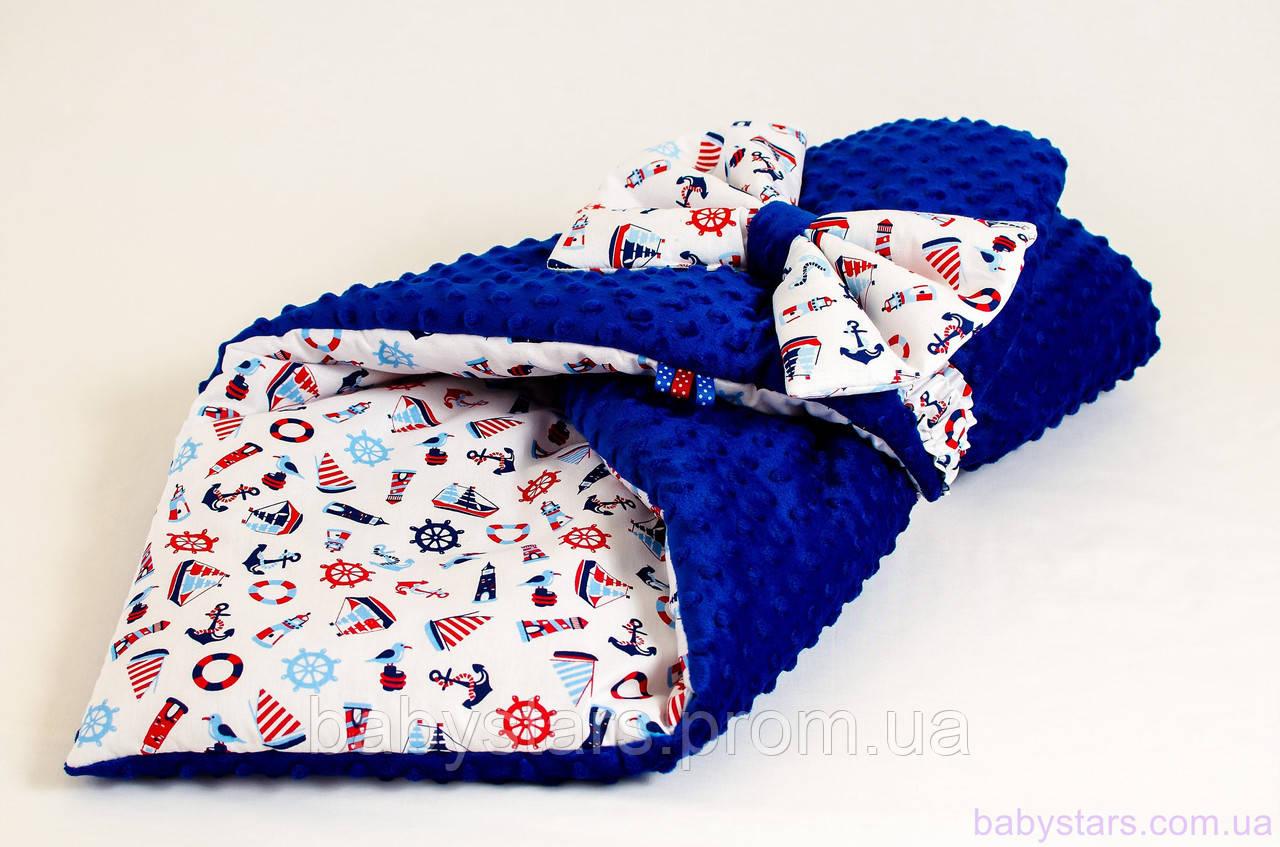 """Конверт одеяло на выписку демисезонный 78х85 см, """"Морские мотивы"""" цвет синий"""