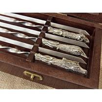 Шампуры ручной работы рукоять латунь/мельхиор, в деревянном кейсе, фото 2