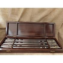 Шампуры ручной работы рукоять латунь/мельхиор, в деревянном кейсе, фото 3