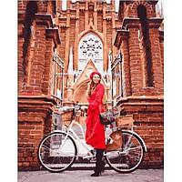 Картина по номерам. Девушка в красном на велосипеде