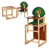Стілець МV-010-22-8 для годування, трансформер, ремні безпеки, велика спинка, дерев'яний, зелений, тигр