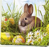 """№ 16.1 Салфетка для декупажа или сервировки стола """"Пасхальный кролик"""" 33х33"""