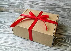 Подарочная коробка крафт самосборная + 16 * 14 * 6 см +