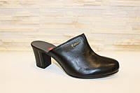 Сабо шлепанцы женские черные на каблуке натуральная кожа Б621, фото 1