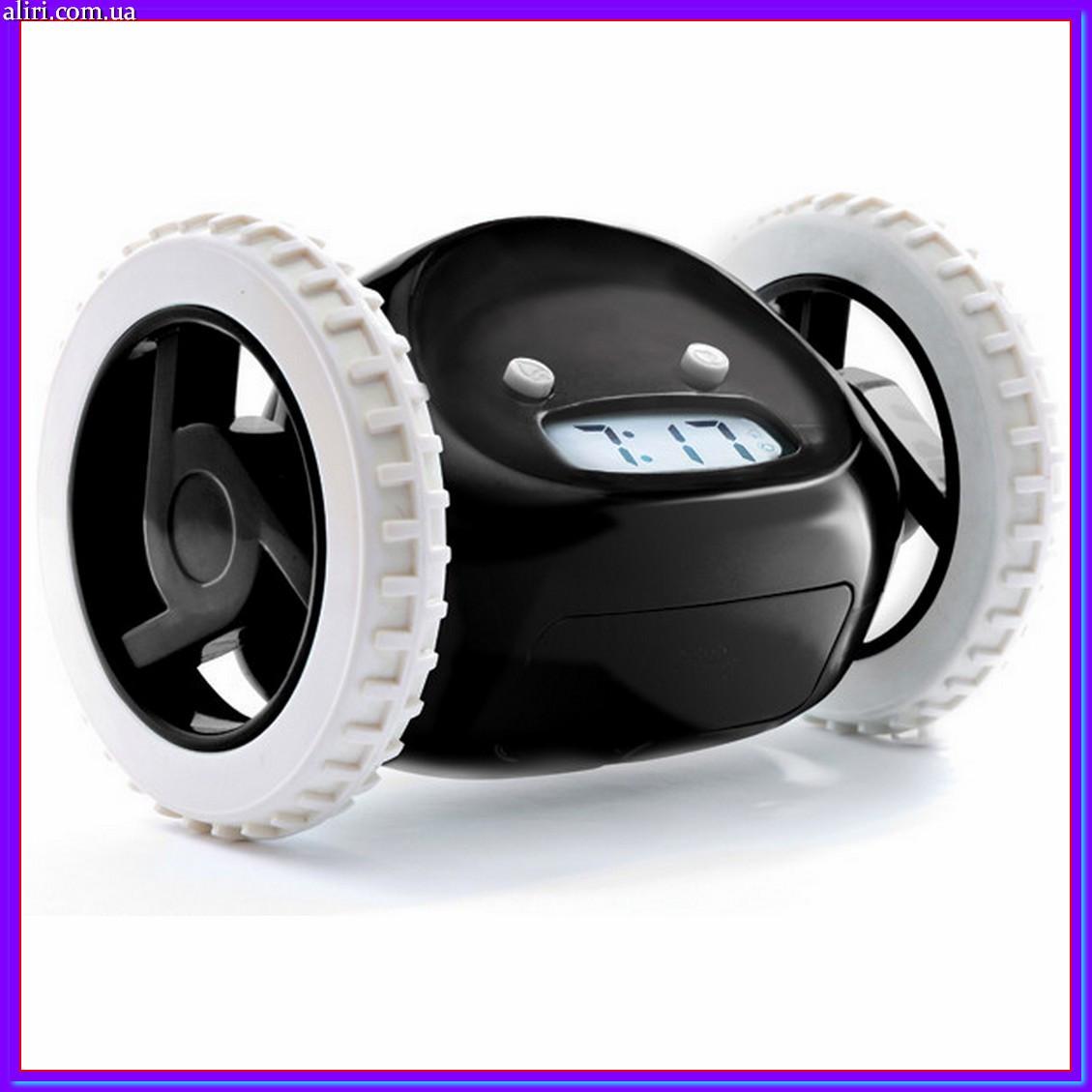 Прикольный убегающий будильник на колесах Runaway clock alarm clock Black, оригинальный подарок