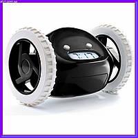 Прикольный убегающий будильник на колесах Runaway clock alarm clock Black, оригинальный подарок, фото 1