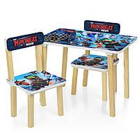 Детский деревянный столик со стульчиками 501-57 Ninjago Blue Гарантия качества Быстрая доставка, фото 1