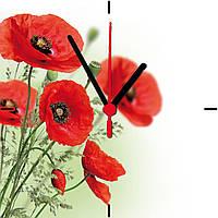 "Настенные часы МДФ  ""Маки цветы"" кварцевые, фото 1"