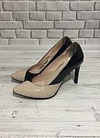 Туфли женские лаковые в комбинации двух цветов Gina, фото 1