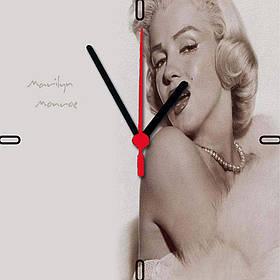 """Настінні годинники на склі """"Мерлін Монро"""" кварцові"""
