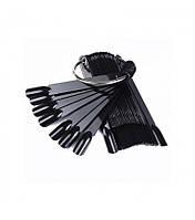 Дисплей-веер для образцов лака 50шт, черные, на кольце