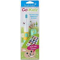 Электрическая (звуковая) зубная щетка Brush Baby Go-Kidz Boxed, зеленая+наклейки, фото 1
