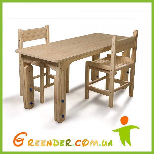 Детский столик растущий + два растущих стульчика