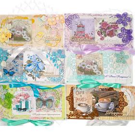 Листівки, конверти, запрошення, подарункові коробочки, шоколадниицы
