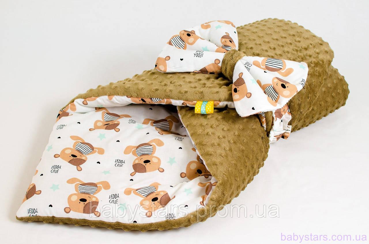 """Детский конверт одеяло на выписку 78х85 см, """"Мишки Тедди"""""""