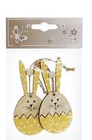 Набор (2шт) пасхальных украшений на подвесе Кролик 10см, 3 вида 3