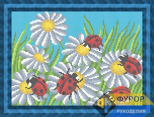 Схема для вишивки бісером картини Божа корівка на ромашках (ЖБп4-105)
