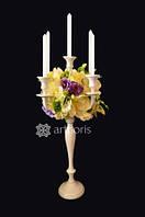 Декор для оформления стола, канделябры с цветами и свечами в аренду