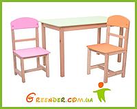 """Детский комплект столик двойной и два стульчика """"Бук"""""""