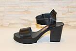 Босоножки женские черные на каблуке натуральная кожа Б941, фото 2