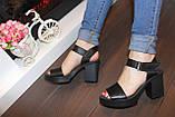 Босоножки женские черные на каблуке натуральная кожа Б941, фото 3