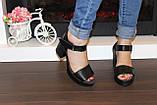 Босоножки женские черные на каблуке натуральная кожа Б941, фото 4