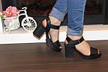 Босоножки женские черные на каблуке натуральная кожа Б941, фото 5