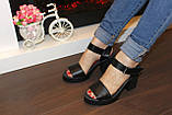 Босоножки женские черные на каблуке натуральная кожа Б941, фото 7